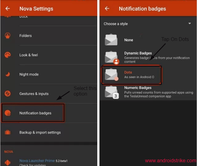 Nova launcher notification dots settings