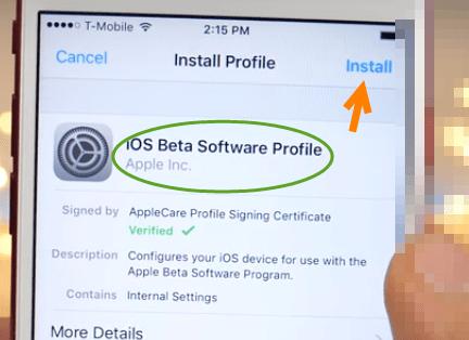 iOS 11 Beta Profile installation