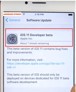 iOS 11 Beta software update