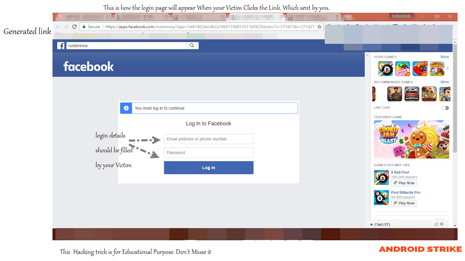 Facebook Phishing Method