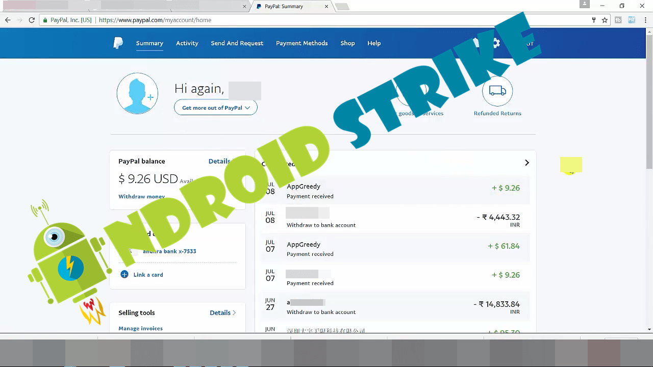 Paypal Earning Proof in Dollars