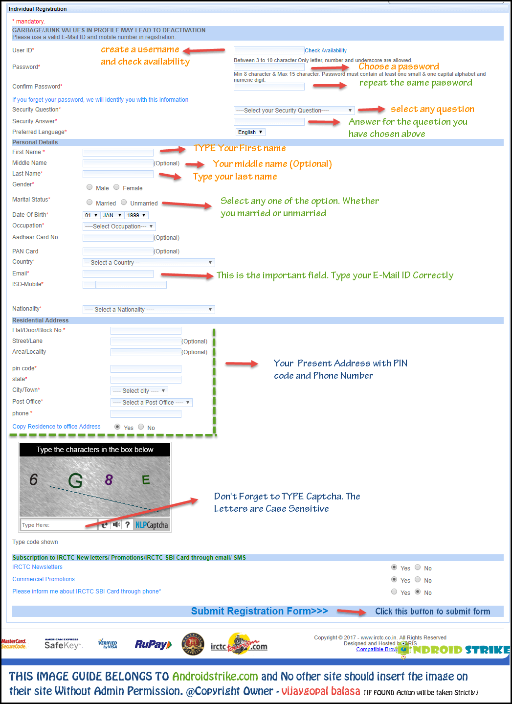 IRCTC Registration Form Guide
