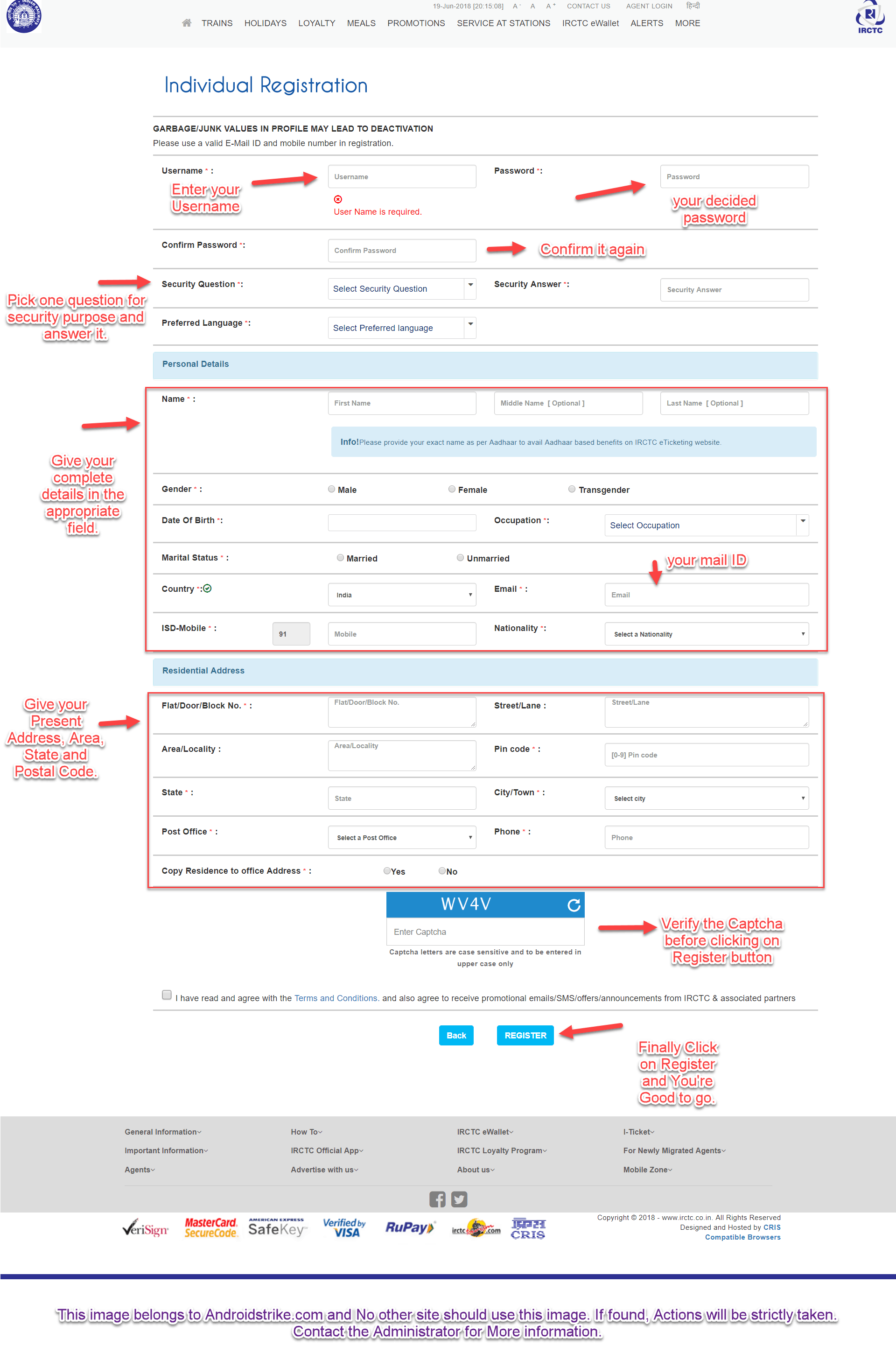 Irctc account login page