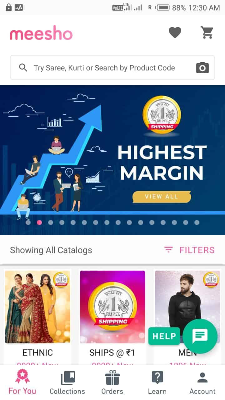 meesho app - homepage