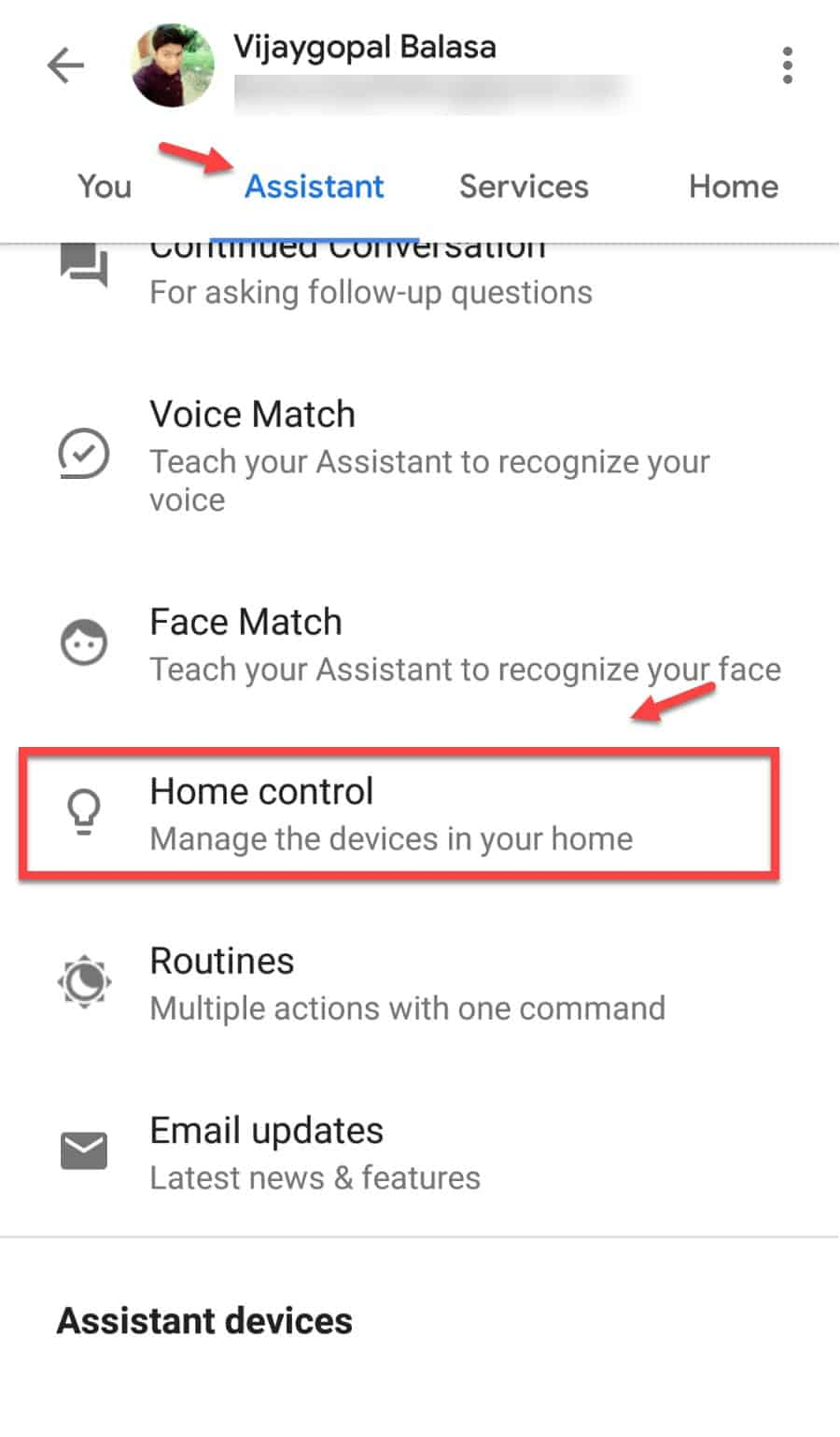 Google Assistant settings for Home control