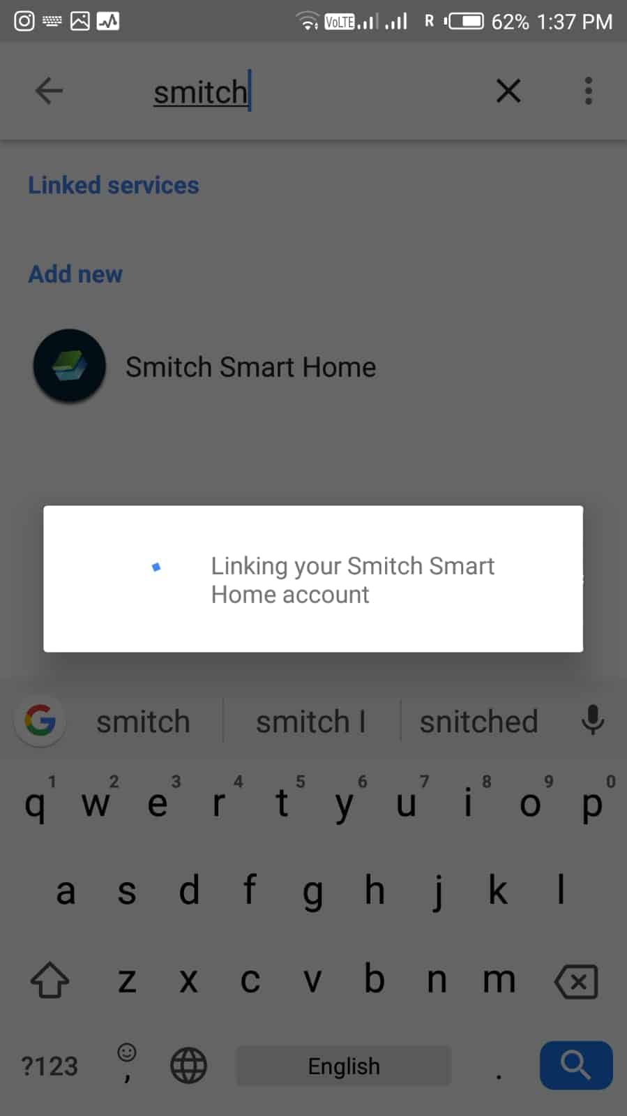 Linking Smitch Smart home control Account to Google assistant