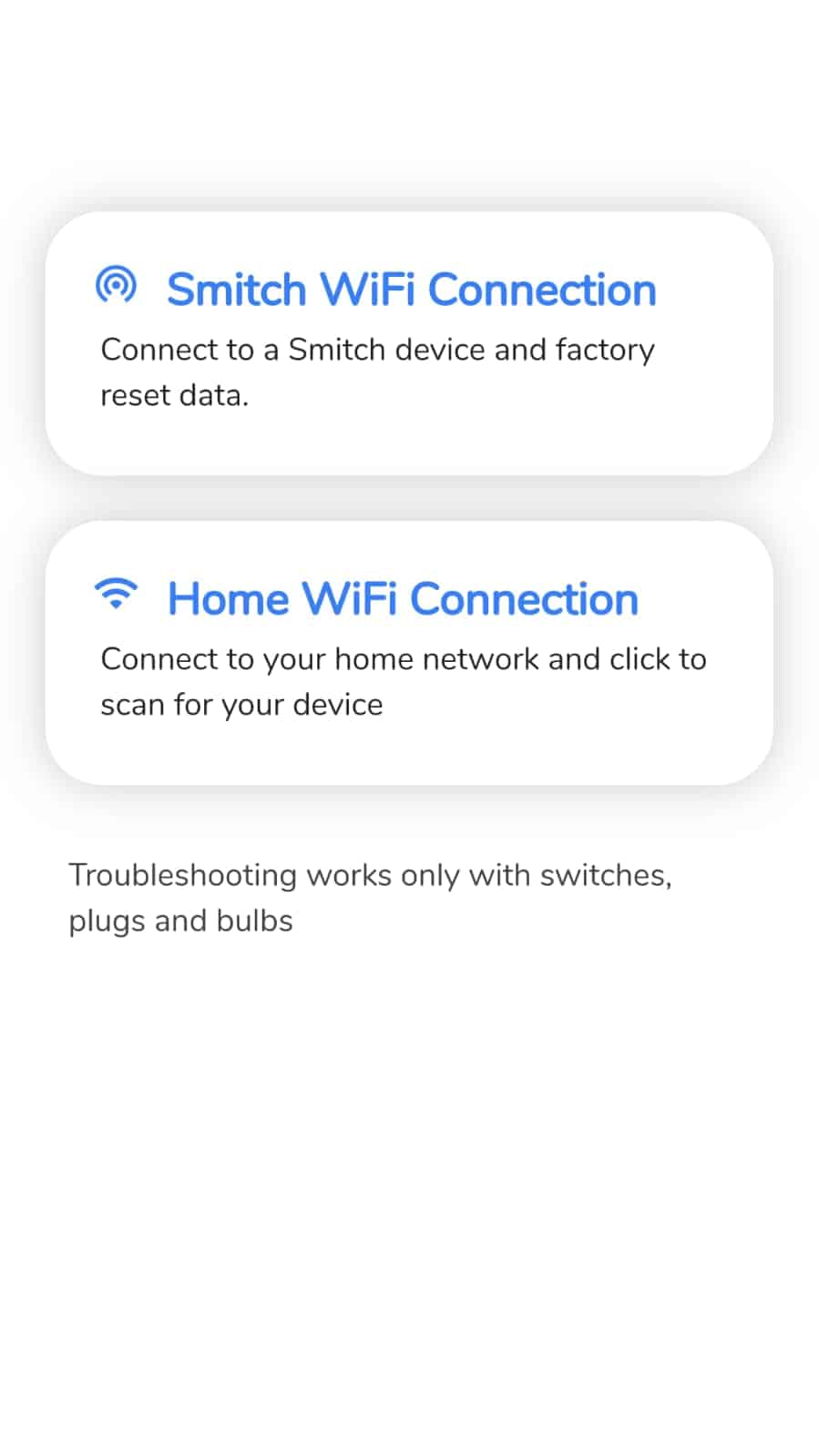 smitch smart bulb connecting to home Wifi network
