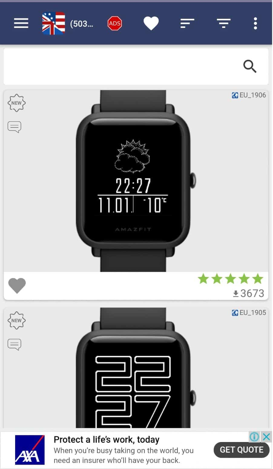 step 1 - selecting Amazfit watch faces from list