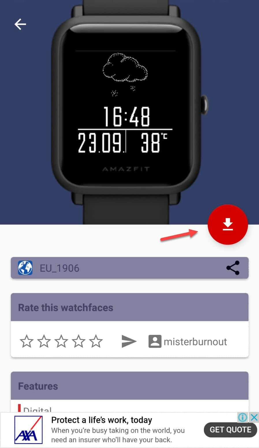 step 2 - Downloading Amazfit Custom watch face from the app