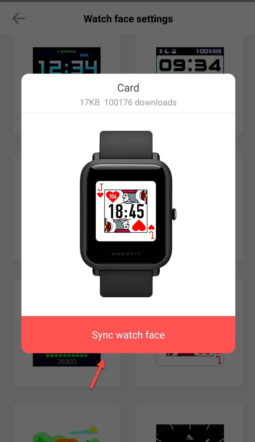 step 5 - installing and syncing new watch face in Amazfit bip and bip lite