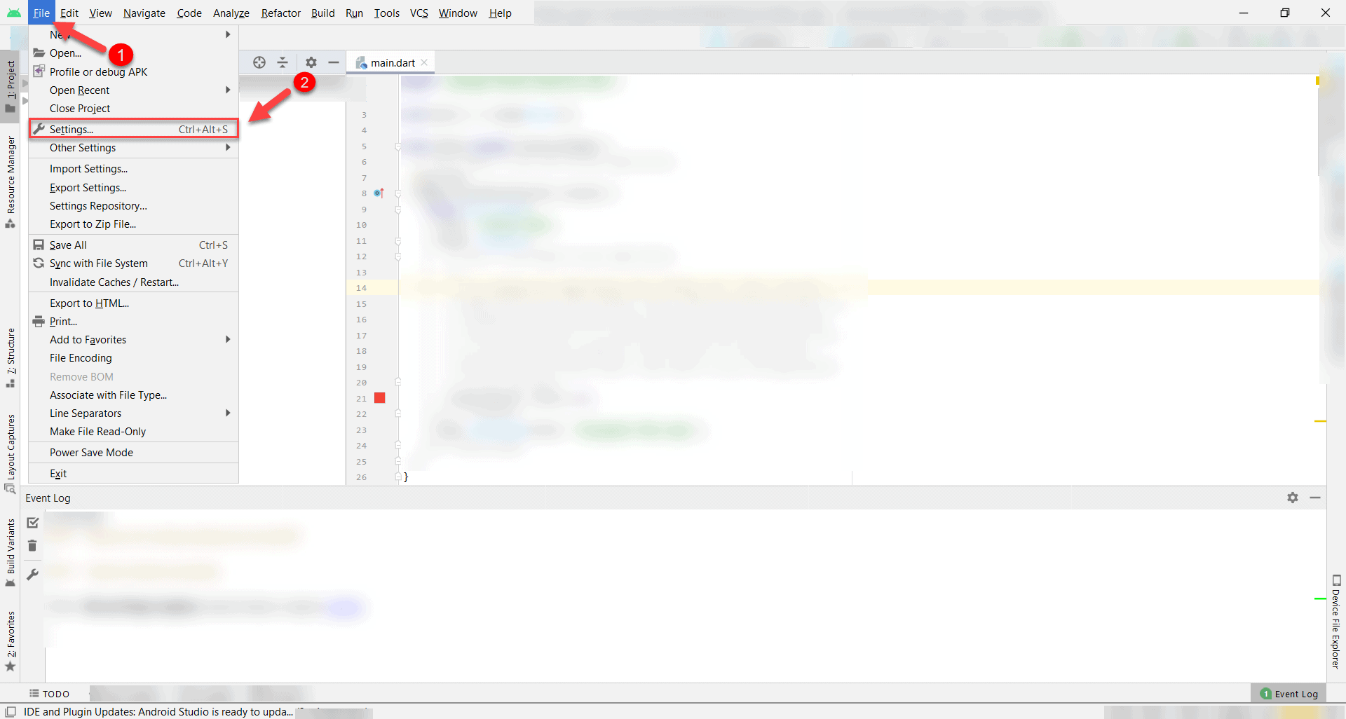 android studio dashboard