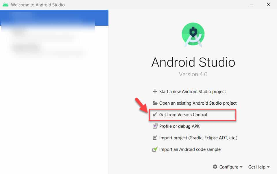 Project importing Android project from version control